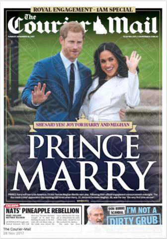 Courier Mail, Australia - 28-11-2017 - Harry e Meghan Markle: a maggio si sposeranno qui
