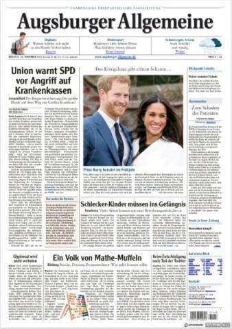 Augsburger Allgemeine, Germany - 28-11-2017 - Harry e Meghan Markle: a maggio si sposeranno qui