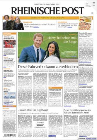 Rheinische Post, Germany - 28-11-2017 - Harry e Meghan Markle: a maggio si sposeranno qui