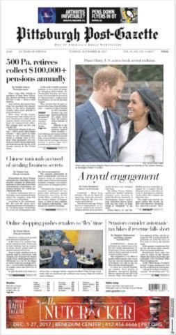 Pittsburgh Post-Gazette, United States - 28-11-2017 - Harry e Meghan Markle: a maggio si sposeranno qui