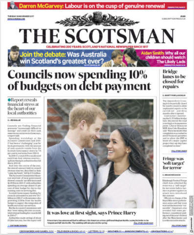 The Scotsman, United Kingdom - 28-11-2017 - Harry e Meghan Markle: a maggio si sposeranno qui