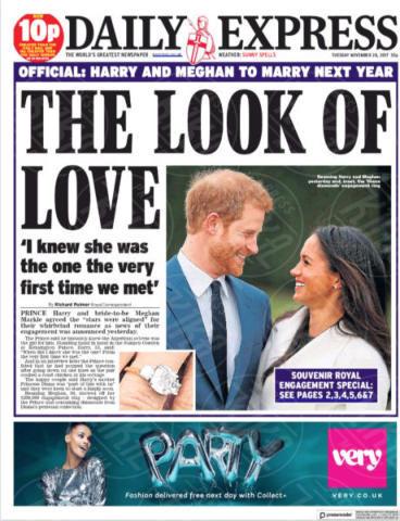 United Kingdom, Daily Express - 28-11-2017 - Harry e Meghan Markle: a maggio si sposeranno qui