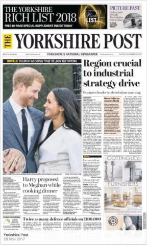 Yorkshire Post, United Kingdom - 28-11-2017 - Harry e Meghan Markle: a maggio si sposeranno qui