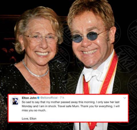 Sheila Farebrother, Elton John - Londra - 04-12-2017 - Il commovente messaggio di Elton John per la morte della mamma