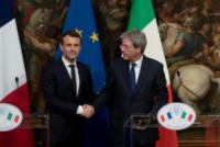 Emmanuel Macron, Paolo Gentiloni - Roma - 11-01-2018 - Paolo Gentiloni accoglie Emmanuel Macron a Palazzo Chigi