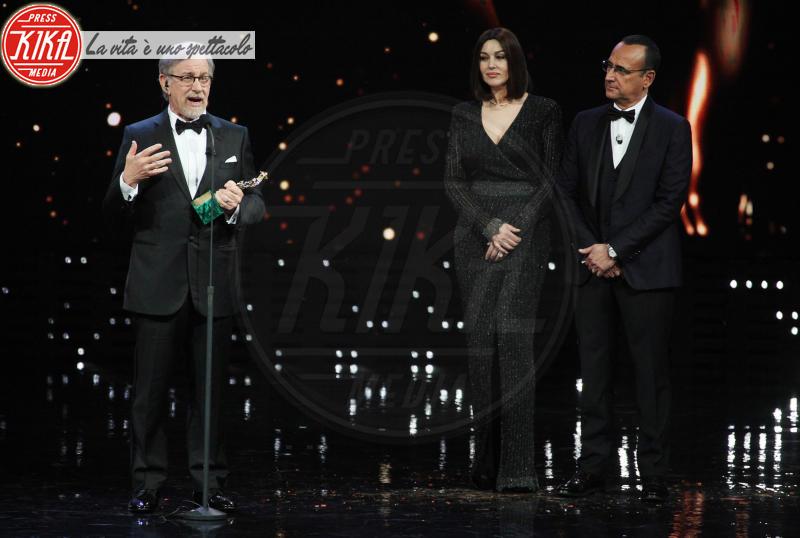 Carlo Conti, Monica Bellucci, Steven Spielberg - Roma - 21-03-2018 - David, il monologo di Paola Cortellesi a nome di tutte le donne