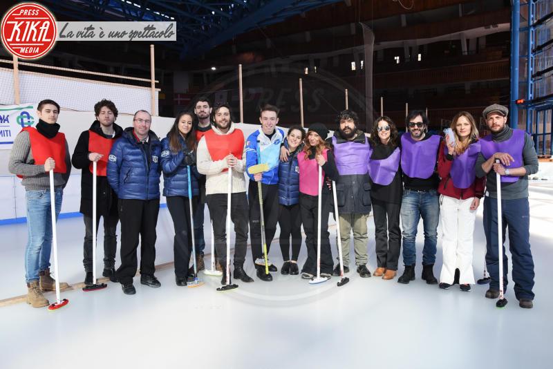 Elettra Mallaby, Matteo Branciamore, Irene Ferri - Cortina - 23-03-2018 - Lezioni di curling per gli attori di Cortinametraggio