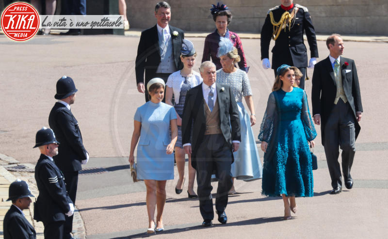 Commander Timothy Laurence, James Viscount Severn, Sophie Countess of Wessex, Princess Beatrice, Prince Andrew, Lady Louise Windsor, Principessa Eugenia di York, Ed, Princess Anne - Windsor - 19-05-2018 - Royal Wedding, gli ospiti: Amal Clooney è in giallo