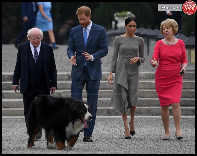 Sabina Coyne, Michael Higgins, Meghan Markle, Principe Harry - Dublino - 11-07-2018 - Meghan Markle a Dublino: l'eleganza è grigio topo