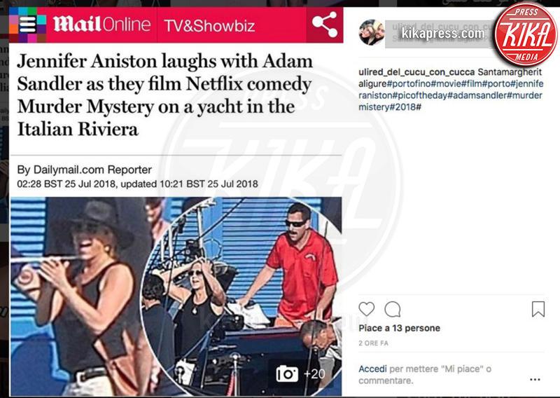 Adam Sandler, Jennifer Aniston - 25-07-2018 - Segreto di Pulcinella:Jennifer Aniston in Liguria per il film