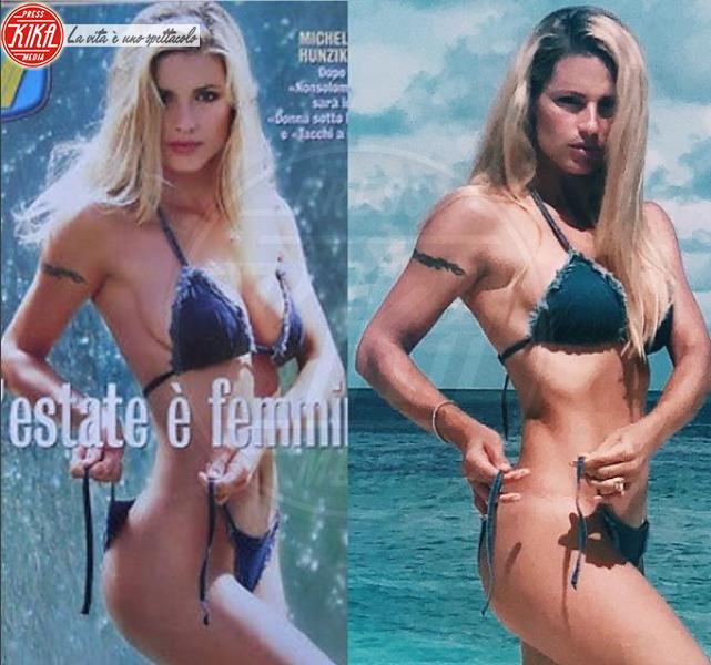 Michelle Hunziker, lo stesso bikini vent'anni dopo