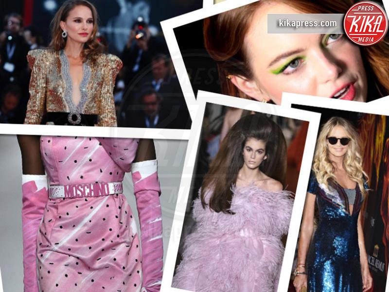Moschino, Kaia Gerber, anni 80, Emma Stone, Elle Macpherson, Natalie Portman - 05-10-2018 - Paillettes, spalline, loghi in vista: bentornati anni '80!