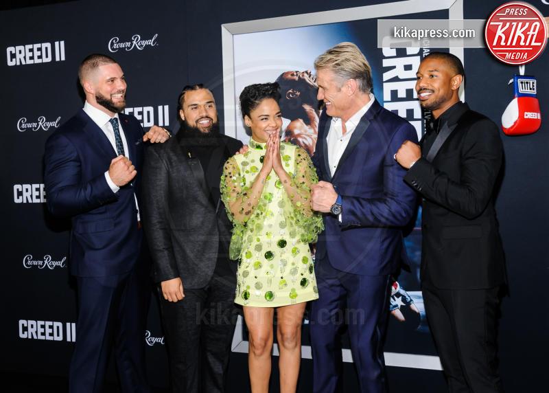 Florian Munteanu, Tessa Thompson, Michael B Jordan, Dolph Lundgren - New York - 15-11-2018 - Rocky e Ivan Drago insieme alla premiere di Creed II