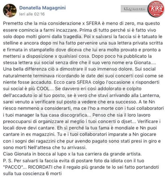 Donatella Magagnini - Senigallia - 09-01-2019 - Sfera Ebbasta attaccato dalla madre di una vittima di Corinaldo
