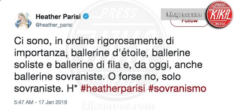 Heather Parisi: il tweet al vetriolo verso Lorella Cuccarini