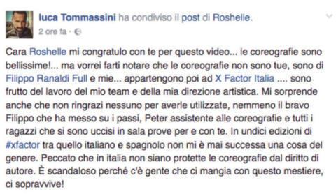 Roshelle criticata da Luca Tommassini