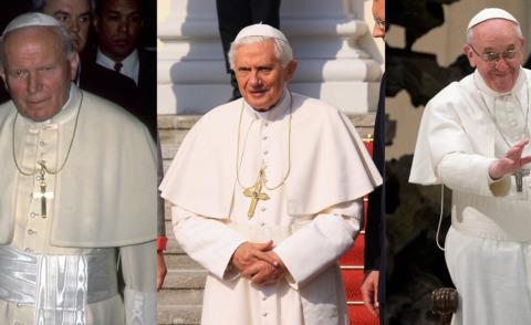 Jorge Mario Bergoglio, Ratzinger, Papa Giovanni Paolo II - Roma - Giovanni Paolo II, Benedetto XVI, Francesco: tre papa, tre stili