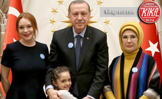 emine erdogan, Tayyip Erdogan, Lindsay Lohan - ANKARA - 28-01-2017 - Lindsay Lohan appoggia la Turchia di Erdogan