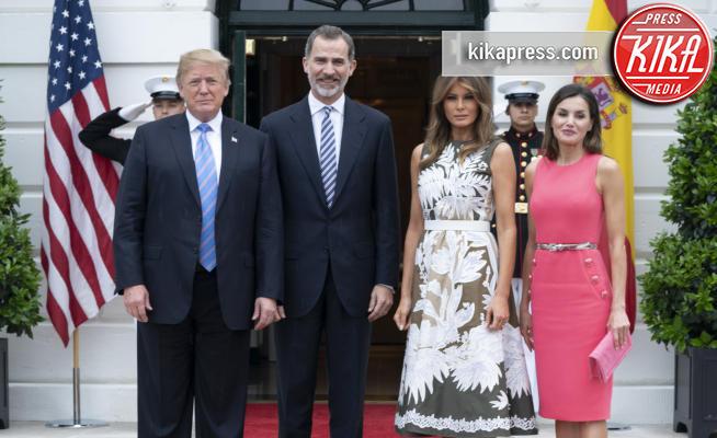 Melania Trump, Re Felipe di Borbone, Letizia Ortiz, Donald Trump - Washington - 19-06-2018 - Letizia e Felipe di Spagna da Trump: foto di gruppo con errore