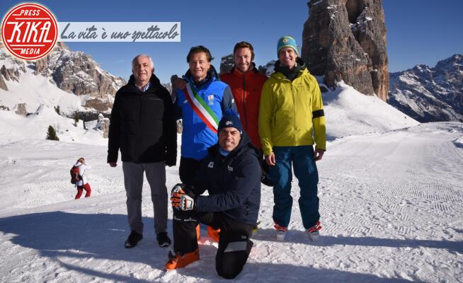 MARCO ZARDINI, Gianpietro Ghedina, Alessand, Massimiliano Ossini - Cortina - 12-01-2020 - Cortina, inaugurato il nuovo tracciato Lino Lacedelli