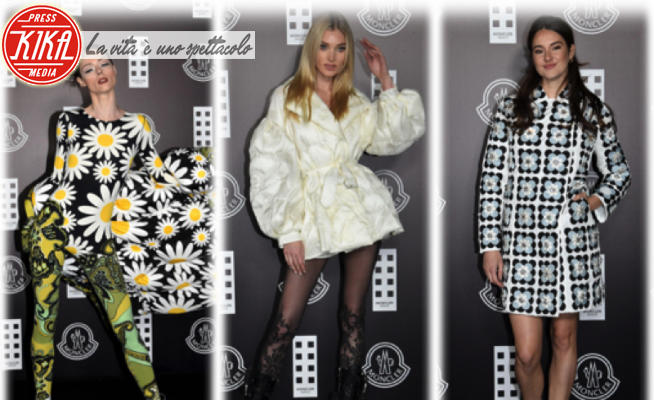 Elsa Hosk, Coco Rocha, Shailene Woodley - Milano - 20-02-2020 - MFW: Elsa Hosk in minipiumino e Coco Rocha margherita da Moncler
