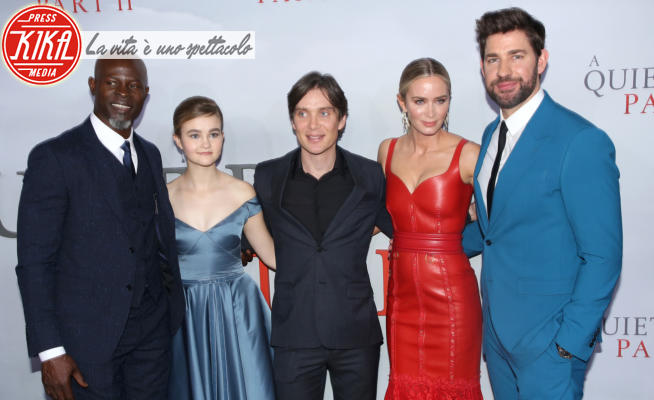 Millicent Simmonds, Emily Blunt, Cillian Murphy, Djimon Hounsou - New York - 08-03-2020 - Emily Blunt signora in rosso e pelle per A Quiet Place 2