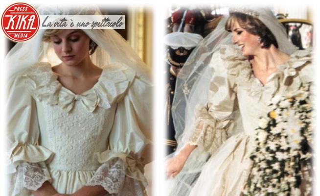 Emma Corrin, Lady Diana - 07-10-2020 - The Crown: Emma Corrin con l'abito da sposa di Lady Diana