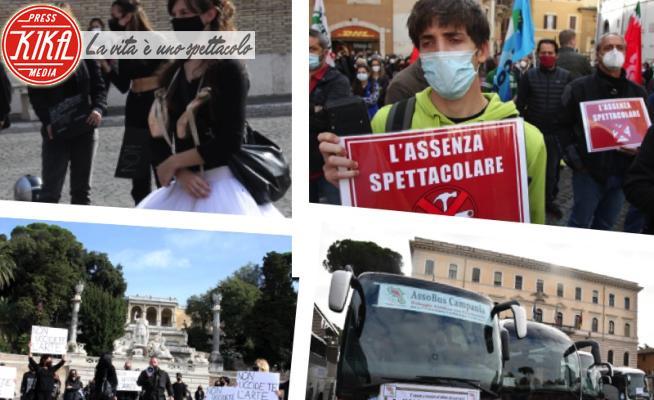 Manifestazioni contro dpcm - Roma - 05-11-2020 - DPCM: dagli autisti ai lavoratori dello spettacolo, tutti contro