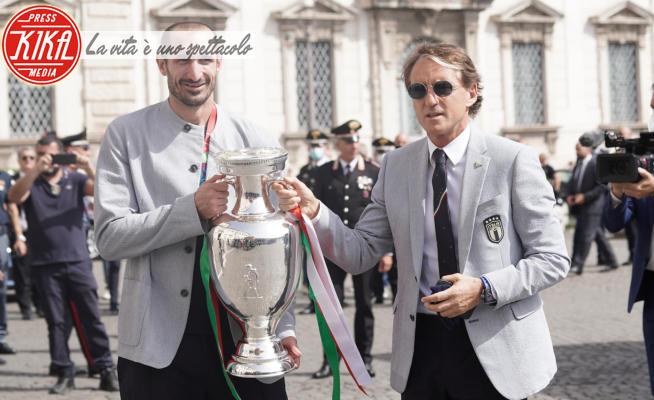 Giorgio Chiellini, Roberto Mancini - Roma - 12-07-2021 - L'Italia alza la coppa al Quirinale. C'è anche Matteo Berrettini