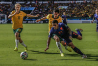Ben HALLORAN, Memphis DEPAY, Ryan McGOWAN - PORTO ALEGRE - 18-06-2014 - Brasile 2014: l'Olanda vince sull'Australia