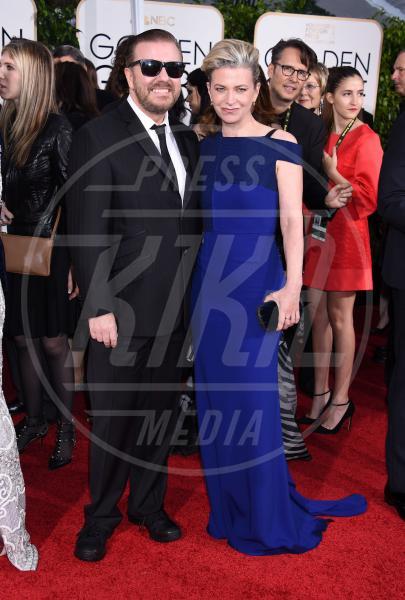Jane Fallon, Ricky Gervais - Beverly Hills - 11-01-2015 - Golden Globe 2015: va in scena il gioco delle coppie