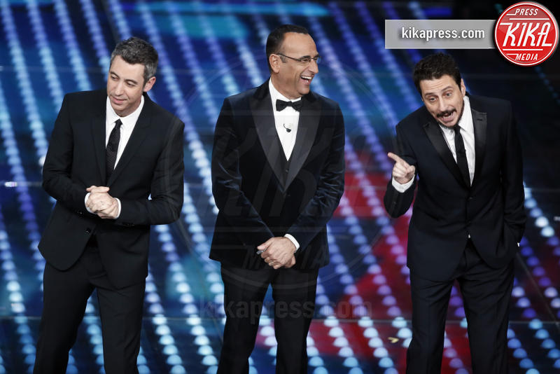 Carlo Conti, Paolo Kessisoglu, Luca Bizzarri - Sanremo - 10-02-2017 -  Sanremo 2017: show di Mika nella serata delle Cover