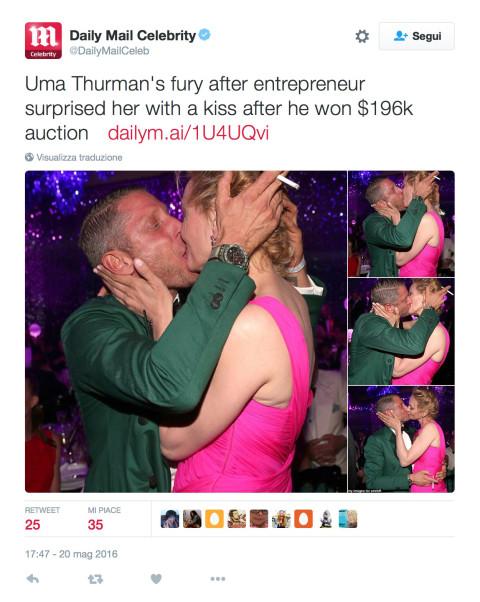 Uma Thurman, Lapo Elkann, bacio AmFar Gala